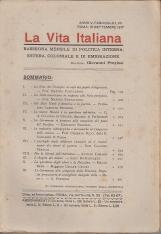 LA VITA ITALIANA RASSEGNA MENSILE DI POLITICA INTERNA ESTERA, COLONIALE E DI EMIGRAZIONE ANNO V FASCICOLO LVII SETTEMBRE 15 SETTEMBRE 1917