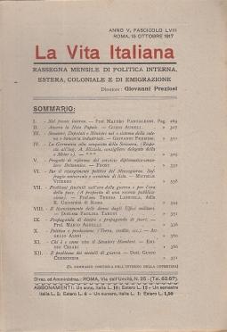 LA VITA ITALIANA RASSEGNA MENSILE DI POLITICA INTERNA ESTERA, COLONIALE E DI EMIGRAZIONE ANNO V FASCICOLO LVIII OTTOBRE 15 OTTOBRE 1917