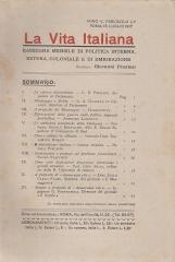 LA VITA ITALIANA RASSEGNA MENSILE DI POLITICA INTERNA ESTERA, COLONIALE E DI EMIGRAZIONE ANNO V FASCICOLO LV LUGLIO 15 LUGLIO 1917