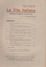 LA VITA ITALIANA RASSEGNA MENSILE DI POLITICA INTERNA ESTERA, COLONIALE E DI EMIGRAZIONE ANNO VI FASCICOLO LXIII MARZO ROMA 15 MARZO 1918