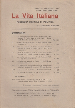 LA VITA ITALIANA RASSEGNA MENSILE DI POLITICA INTERNA ESTERA, COLONIALE E DI EMIGRAZIONE ANNO VI FASCICOLO LXXI NOVEMBRE ROMA 15 NOVEMBRE 1918