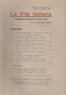 LA VITA ITALIANA RASSEGNA MENSILE DI POLITICA INTERNA ESTERA, COLONIALE E DI EMIGRAZIONE ANNO VI FASCICOLO LXVI GIUGNO ROMA 15 GIUGNO 1918