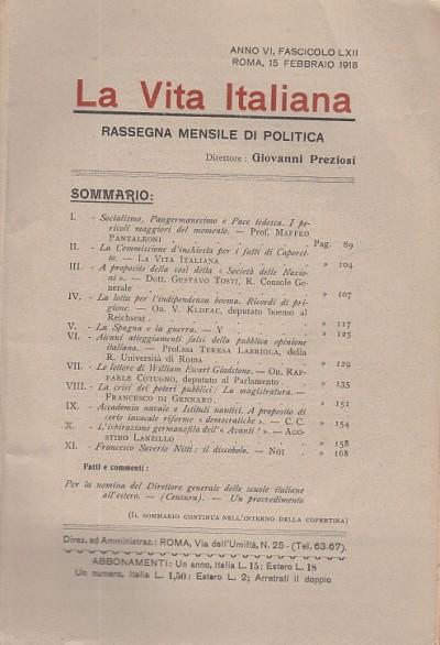 La vita italiana rassegna mensile di politica interna estera, coloniale e di emigrazione anno vi fascicolo lxii febbraio roma 15 febbraio 1918