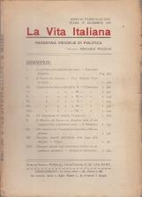 LA VITA ITALIANA RASSEGNA MENSILE DI POLITICA ANNO IX FASCISOLO CVIII ROMA 15 DICEMBRE 1921