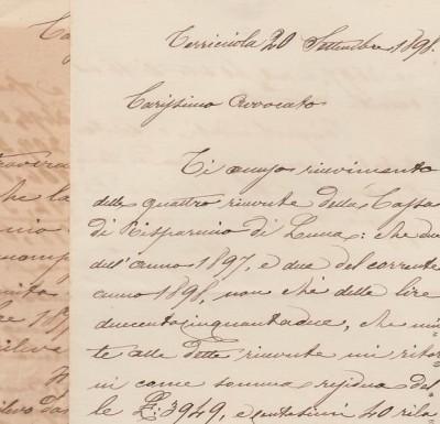Lettere manoscritte datate terricciola 1898 e 1900 inviate da tal cemprini al proprio avvocato per questioni inerenti la cassa di risparmio di lucca e per il mancato pagamento da parte di lami vittorio di alcuni fiaschi di vino