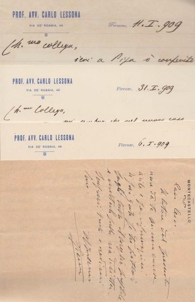 Documentazione giuridica nella quale spiccano due cartoncini ed una lettera su carta intestata manoscritti ed autografati dal noto giurista carlo lessona