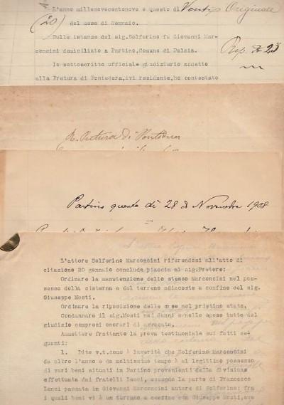 Documentazione manoscritta e dattiloscritta inerente una questione legale tra solferino marconcini di partino comune di palaia e giuseppe mosti anch'esso di partino.