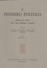 Il pensiero politico rivista delle Idee Politiche e Sociali 1975 Anno VIII n. 3