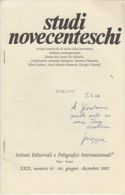 Carlo Mazzantini e l'espressioni dell'altra memoria. Estratto da Studi Novecenteschi