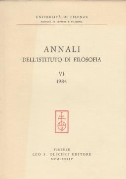 Annali dell'Istituto di filosofia dell'Università di Firenze: 6 1984