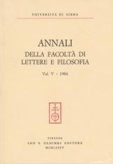 Annali della facoltà di Lettere e Filosofia dell'università di Siena vol. 5 1984