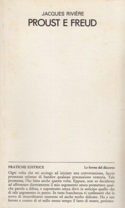 Proust e freud. alcuni prograssi nello studio del cuore umano - Riviere Jacques