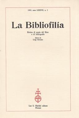 La Bibliofilia 1985 anno LXXXVII n.3