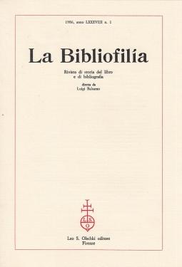 La Bibliofilia 1986 anno LXXXVIII n.1