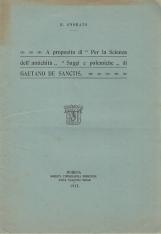 """A proposito di """"Per la Scienza dell'antichit?"""" """"Saggi e polemiche"""" di Gaetano De Sanctis"""