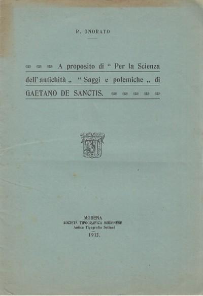 """A proposito di """"per la scienza dell'antichit?"""" """"saggi e polemiche"""" di gaetano de sanctis - Onorato Raffaele"""