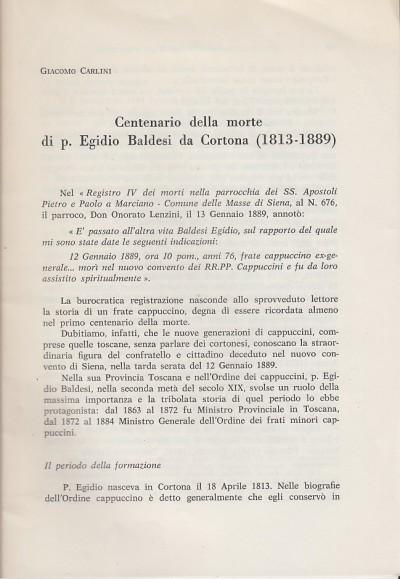 Centenario della morte di p. egidio baldesi da cortona (1813-1889) - Carlini Giacomo
